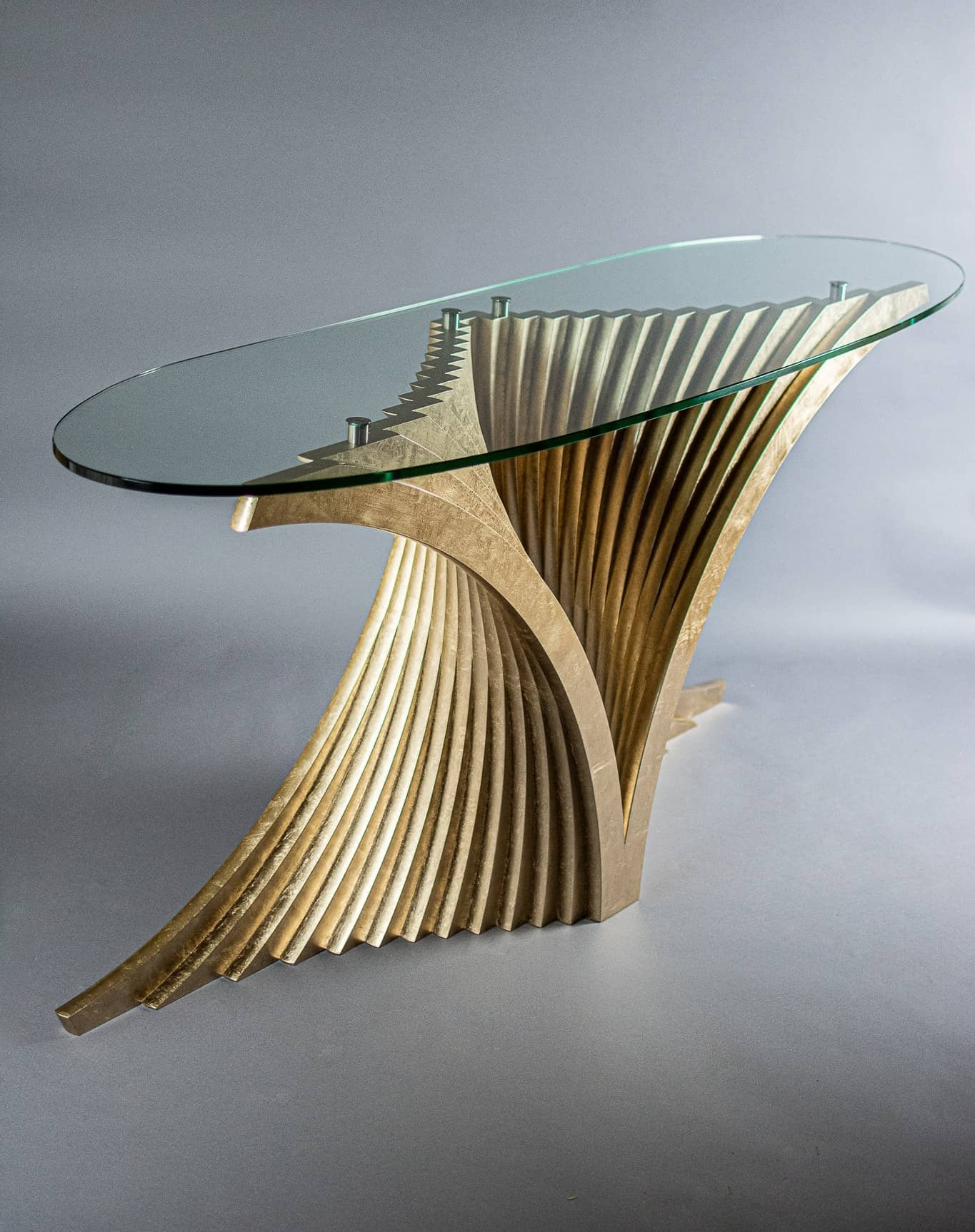 Gilded Helix Console Table